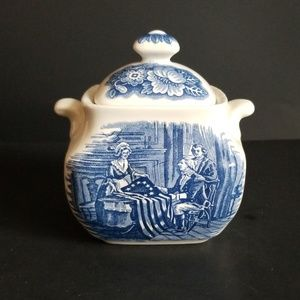 Staffordshire Liberty Blue Transferware Sugar Bowl